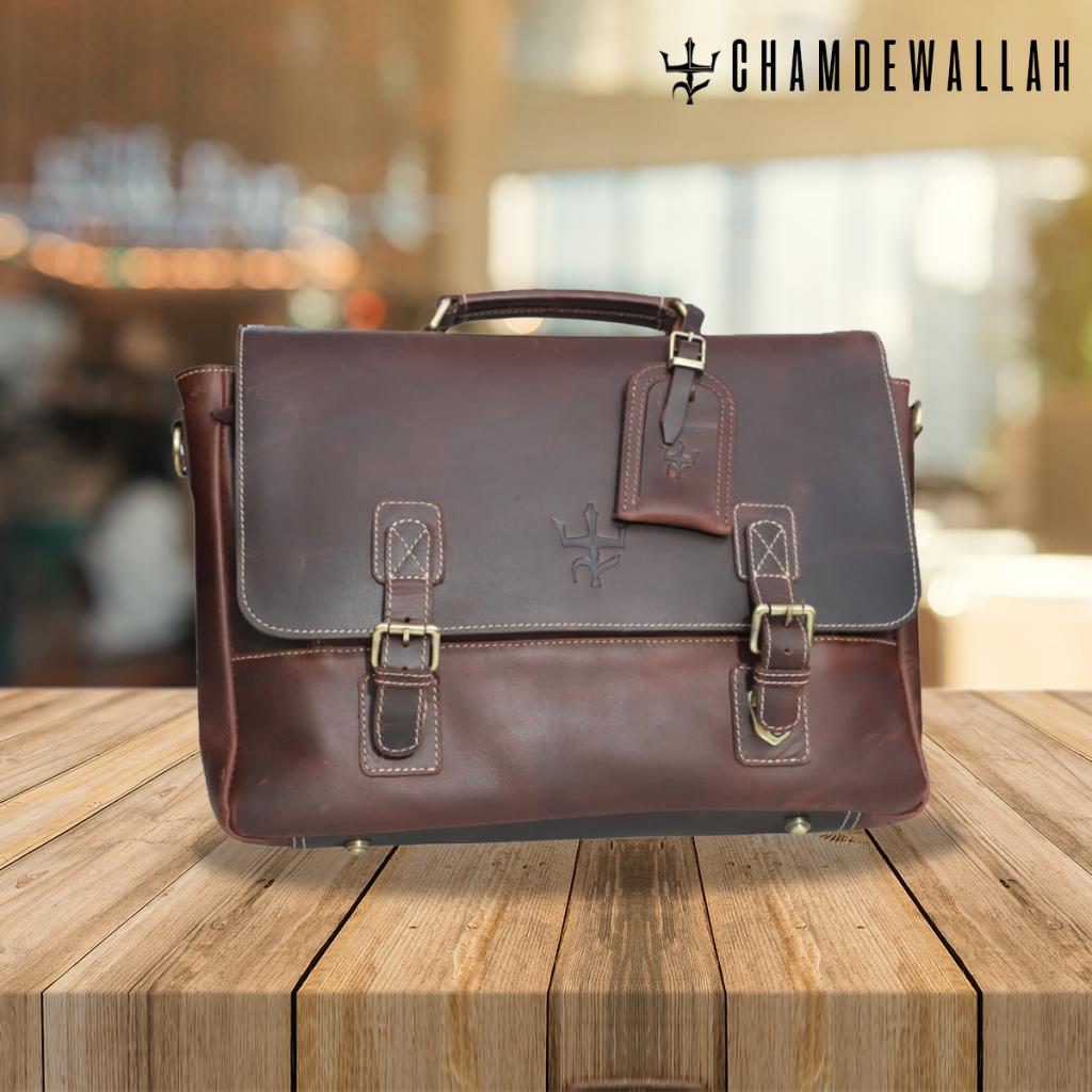 Full grain leather laptop bag